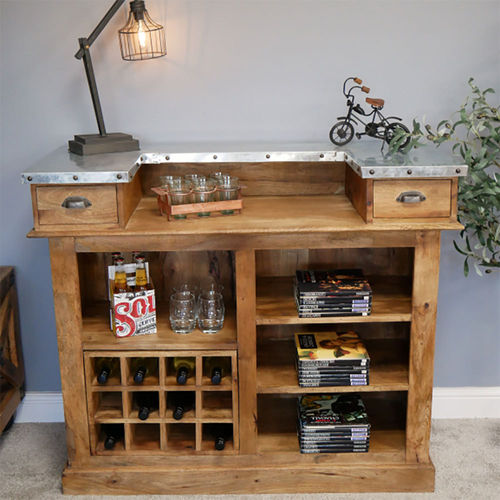 Industrial Style Wooden Home Drinks Bar Cabinet