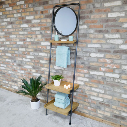 Wooden Ladder 3 Tier Shelves With Mirror