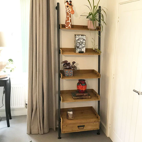 Industrial Style Wooden Ladder Bookshelf