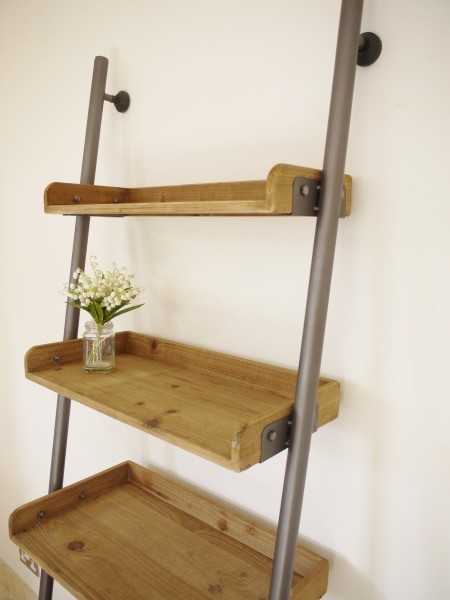 Preferred Ladder Bookcase|Wooden Ladder Shelf|Rustic Ladder - Candle and Blue OC63
