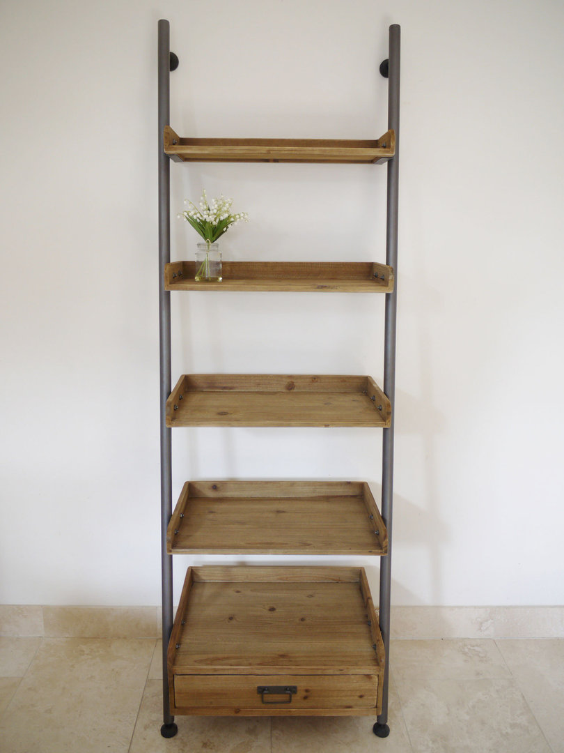 Top Ladder Bookcase|Wooden Ladder Shelf|Rustic Ladder - Candle and Blue JC08
