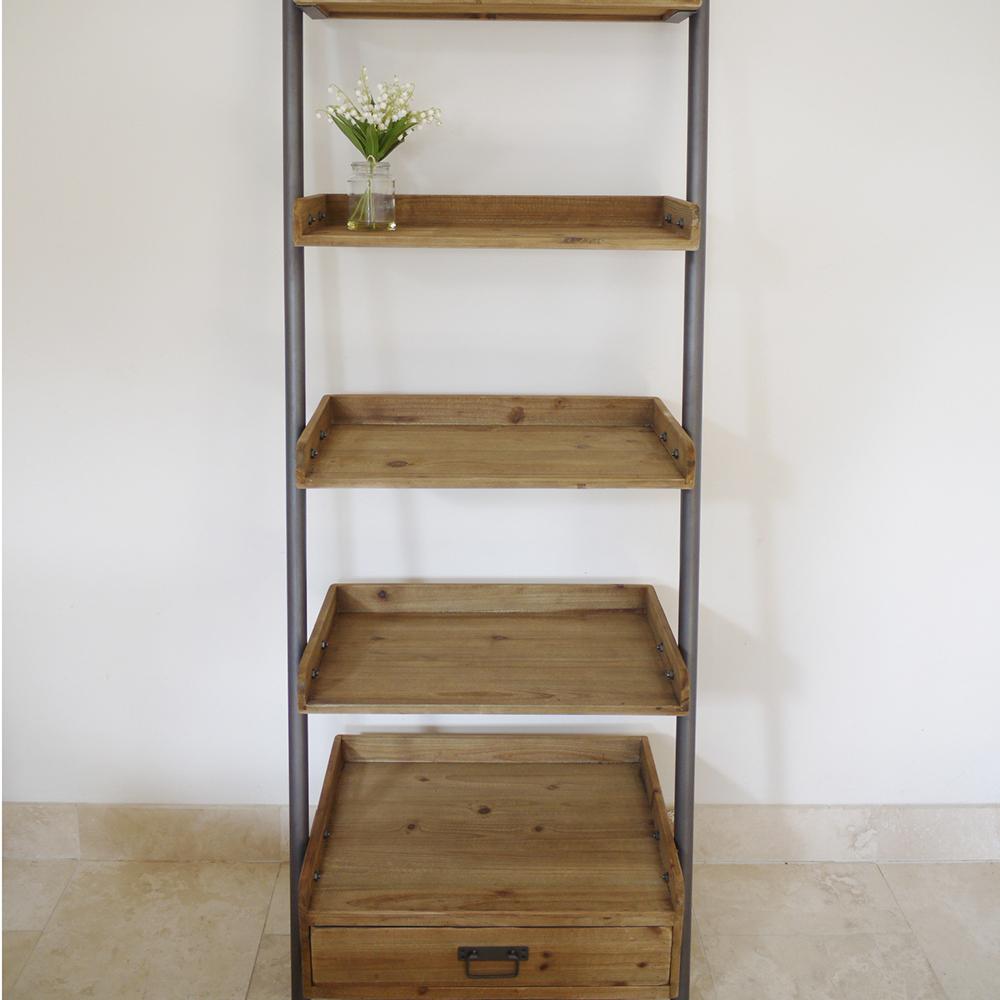 Ladder Bookcasewooden Ladder Shelfrustic Ladder Candle And Blue