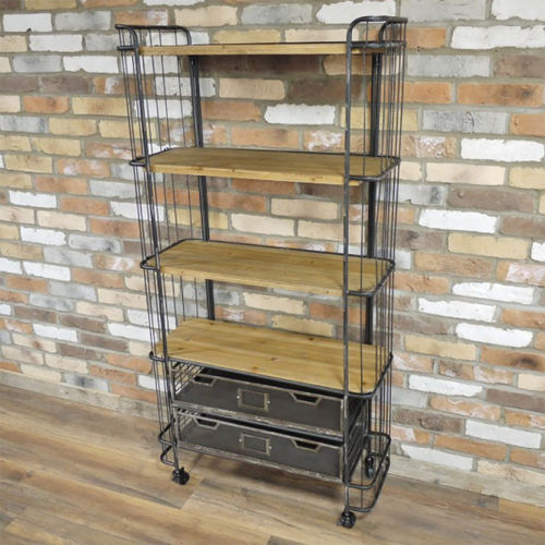 Industrial Style Metal Wood Shelf and Drawer Bookcase