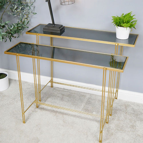 Set 2 Narrow Glass Console Hall Tables