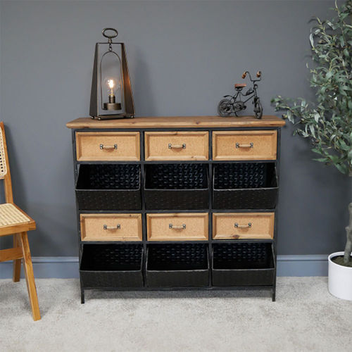 6 Basket 6 Drawer Metal Wood Storage Unit