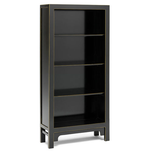Oriental Style Tall Wooden Black Bookcase