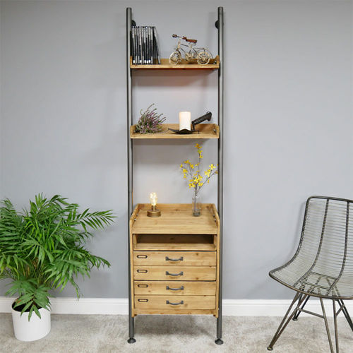 Rustic Wooden And Metal Hallway Ladder Shelving Unit