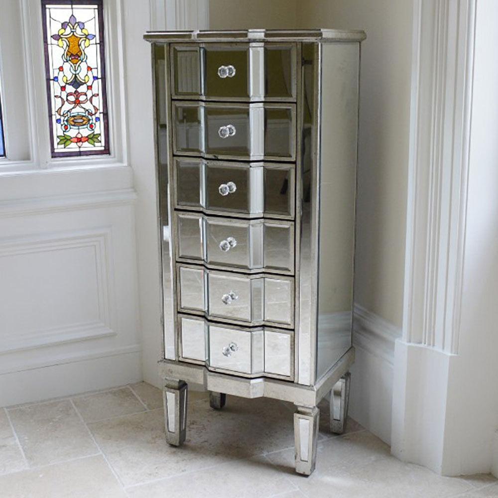6 Drawer Venetian Style Mirrored Bedroom Furniture