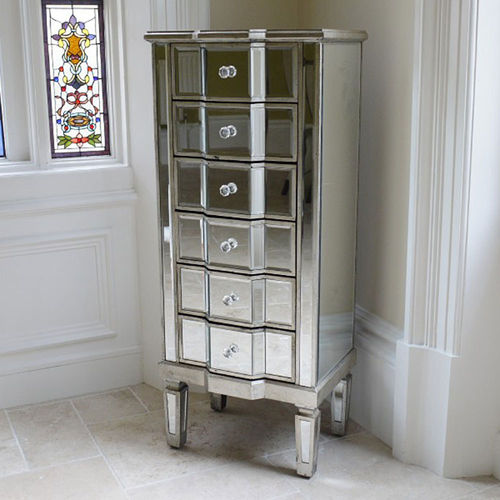 6 Drawer Mirrored Tallboy Chest of Drawers