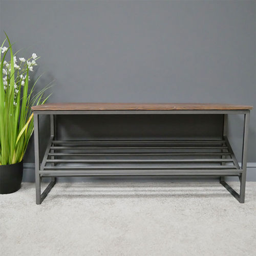 Iron Acacia Wood Hallway Shoe Bench Seat
