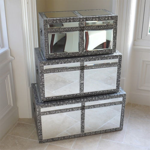 Set 3 Mirrored Embossed Storage Trunks