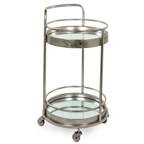 Small Round Mirrored Silver Leaf Drinks Trolley