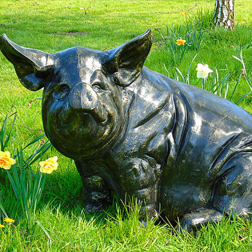 Large Sitting Metal Garden Pig Sculpture
