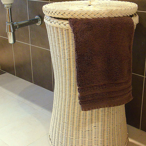 Tall Laundry and Wicker Washing Basket Cream