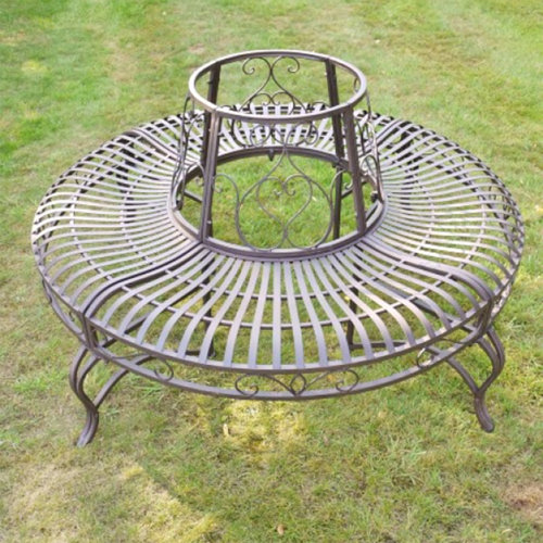 Brown Metal Round Tree Bench Seat