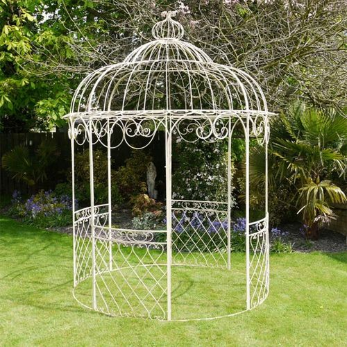 Outdoor Ornate Scroll Antique Cream Gazebo