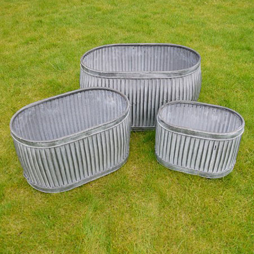 Set of 3 Galvanised Vintage StylePot Plant Holders