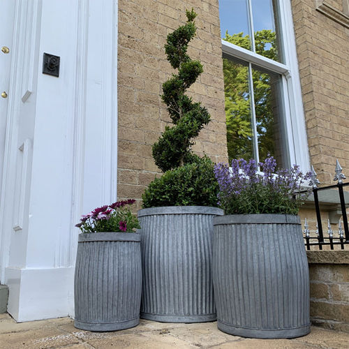 Set 3 Galvanised Barrel Dolly Tub Garden Planters
