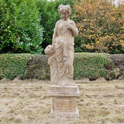 Tall Lady With Basket Stone Statue