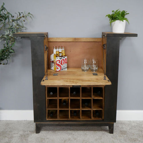 Industrial Style Black Wood Wine Cabinet Bar