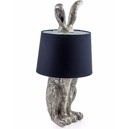 Antique Silver Style Tall Hare Table Lamp And Shade