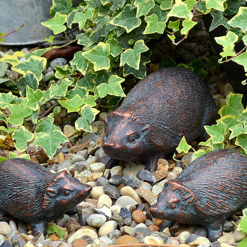 Hedgehog Family Metal Garden Sculptures