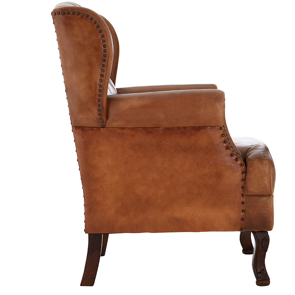 Leather High Back Wing Armchair|Leather Chairs - Candle ...
