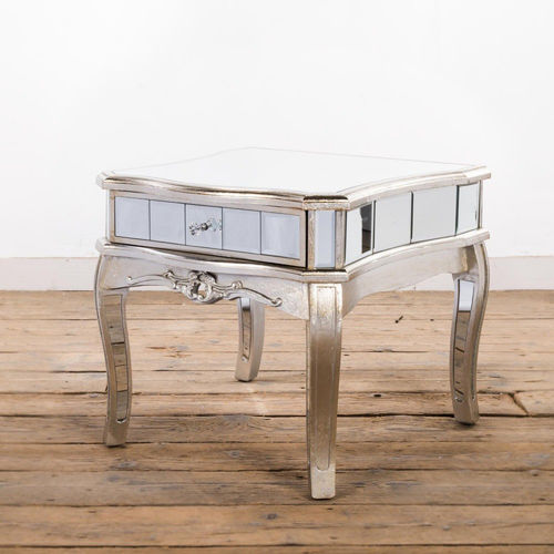 Arabella French Leaf Mirrored Bedside Table
