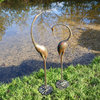 Pair of Elegant Metal Garden Cranes Sculptures