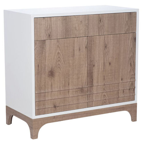 Natural White and Wood 2 Door Scandi Cabinet