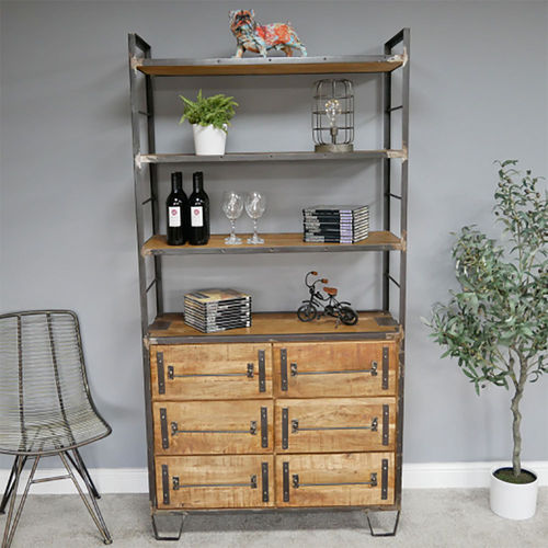 Industrial Style Metal Tall Wooden Bookcase