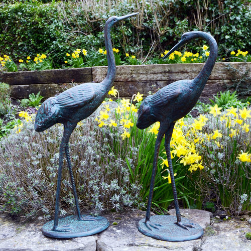 Garden Pair Of Medium Cranes Dark Verdigris