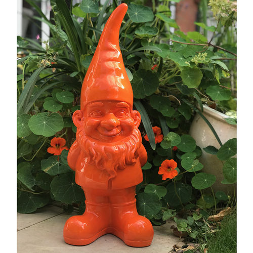 George Bright Orange Garden Gnome Sculpture