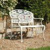 Cream French Style Ornate Metal Bench