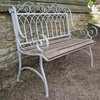 Cast Iron And Wood Painted Garden Bench
