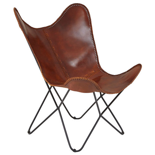 Tan Buffalo Leather Butterfly Chair