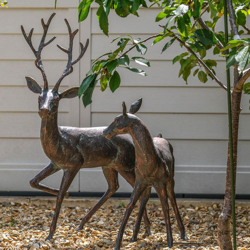 Large Garden Stag Doe Bronze Effect