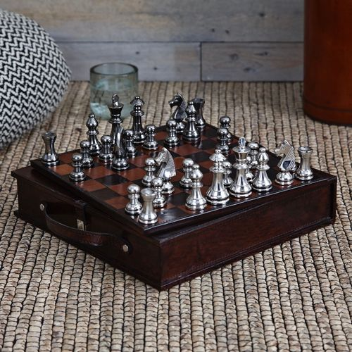 Handmade-Leather Travel Chess Set