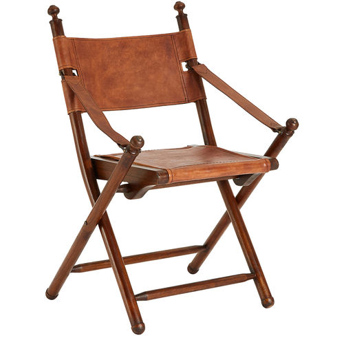 Folding Leather Brown Leather Directors Chair