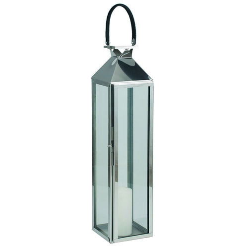 Med Nickel Stainless Steel Hurricane Table Lantern