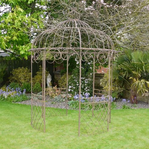 Outdoor Ornate Scroll Antique Brown Gazebo