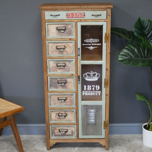 Industrial Wooden Map Cabinet