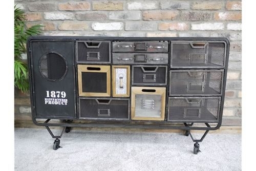 Large Industrial Dark Metal Cabinet