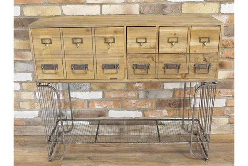 Industrial Multi-Drawer Wooden Cabinet