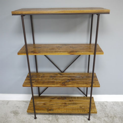 Modern Metal & Wood Shelving Unit