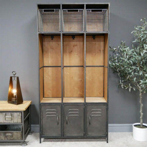 Industrial Narrow Coat & Boot Storage Hallway Unit