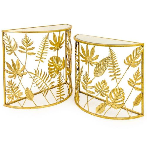 Gold Tropical Leaf Console Tables