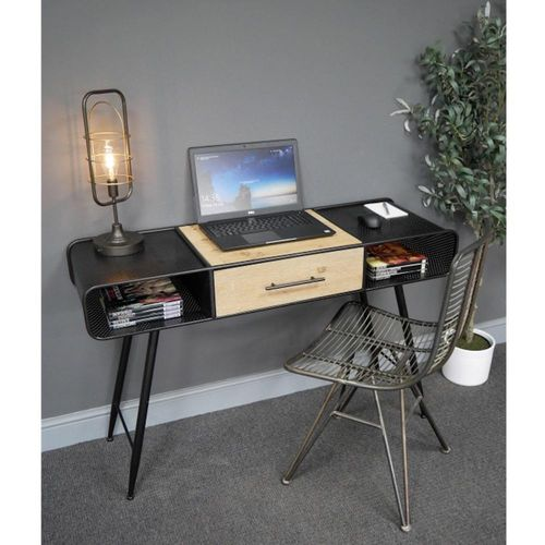 Industrial Black Metal Writing Desk