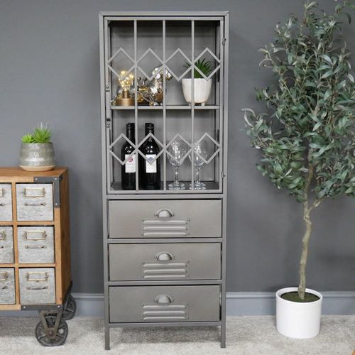 Industrial Metal Wood Display Cabinet