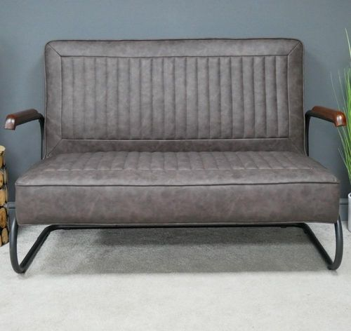 Retro Grey Faux Leather Sofa